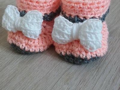 No 11# buciki na szydełku dla niemowlaka 0-3 miesięcy- shoes for baby on the crochet 0-3 months