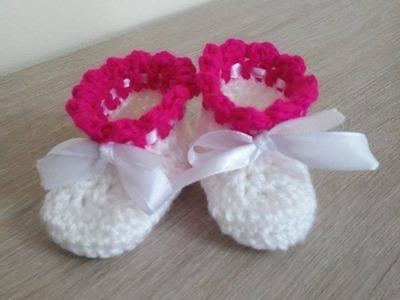 No 14# buciki na szydełku dla niemowlaka 0-3 miesięcy- shoes for baby on the crochet 0-3 months