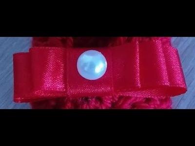 No 24# kokardka z perełką na tasiemce - bow on a ribbon