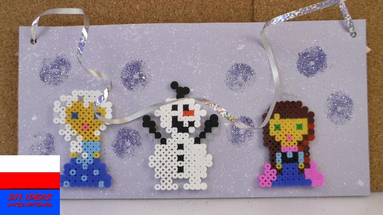 Tabliczka na drzwi z postaciami z Krainy Lodu    Elza, Olaf, Anna