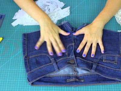 Zrób to Sama - przerabiamy jeansy na szorty z koronką - DIY [Coza Szycie]