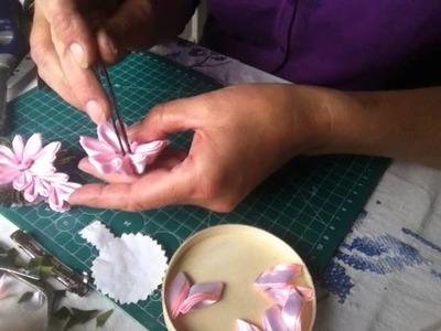 DIY Tutorial Handarbeit Haarklamer  mit Kanzashi Blumen* Klamra do włosów