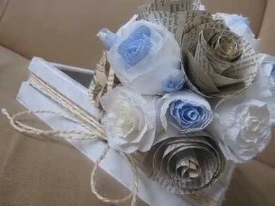 Wedding bouquet DIY blue  RUSTIC STYLE  PAPER FLOWERS