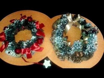 DIY  jak zrobić  dekoracje .wiank,stroikii na Boże Narodzenie wianek z szyszek