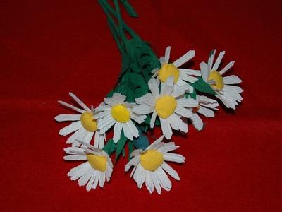 Kwiaty z bibuły - rumianki krok po kroku  DIY