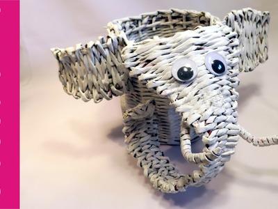 Słoń z papierowej wikliny (elephant, paper wicker)