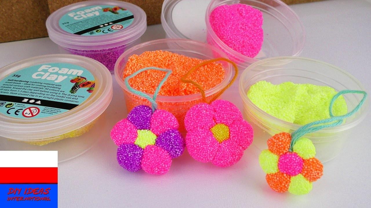 DIY International | kwiatki z Foam Clay dla dzieci | robimy kolorowe kwiaty