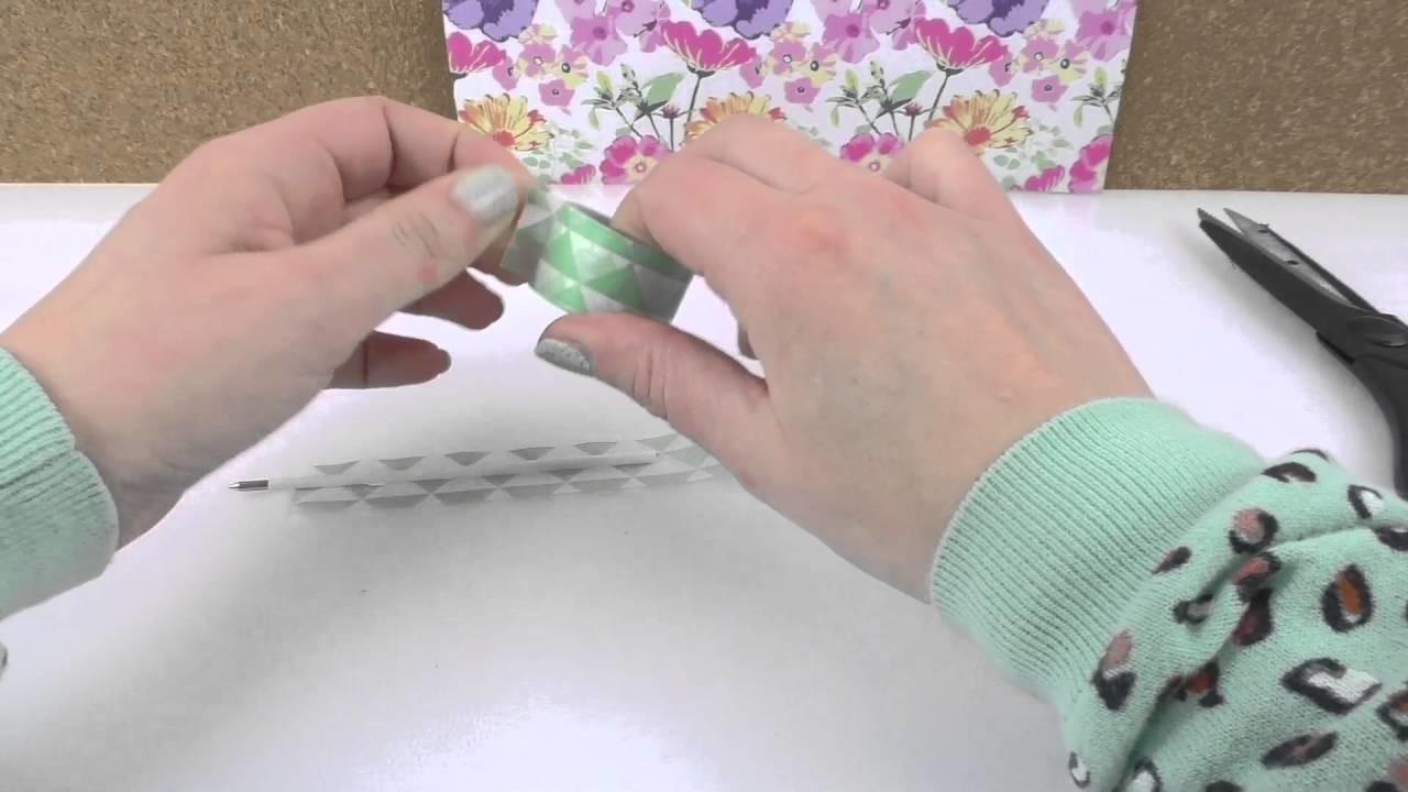 DIY International   pióro z washi tape   długopis w kształcie pióra   prosty pomysł na prezent