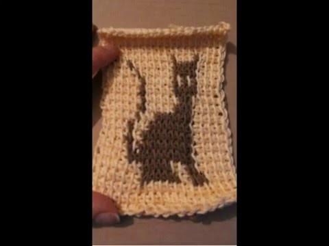 Tunisian crochet Cat Szydełko tunezyjskie kot