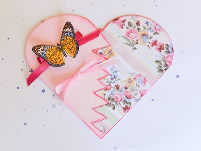 How to Make - Greeting Card Heart Decoupage Butterfly - Step by Step | Kartka Okolicznościowa