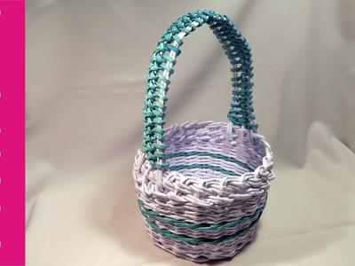 Okrągły koszyk z rączką (round basket with handle, paper wicker)