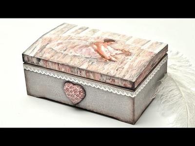 Decoupage  pudełko z baletnicą; malowane szpachelką  - DIY tutorial