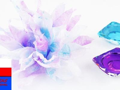 DIY wyzwanie #70 akwarele | kwiatek z chusteczki