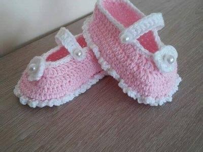 No 39# Buciki na szydełku 3-6 miesięcy - Baby shoes crochet - 3-6 months PART 1-2