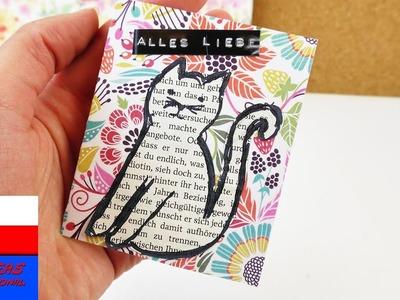 DIY Inspiration | wyzwanie tygodnia #71 papier gazetowy | mini kartka z kotkiem i życzeniami