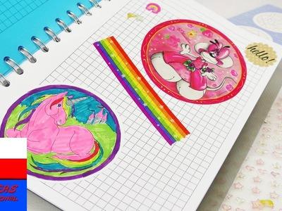 Naklejki, mandale, jednorożec w notesie | porządkowanie materiałów DIY | Back to School