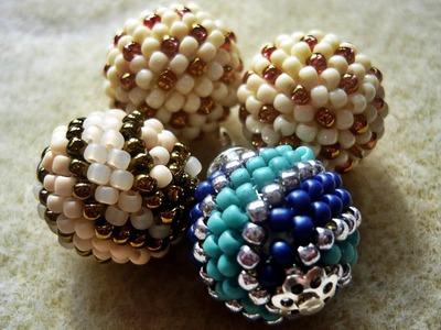 Kulki koralikowe (beaded balls) - wzór w kropki i paski ★ TUTORIAL BEADING ★