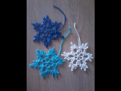 No63# Śnieżynka, śnieżka na szydełku nr 1 - snowflake on crochet nr 1