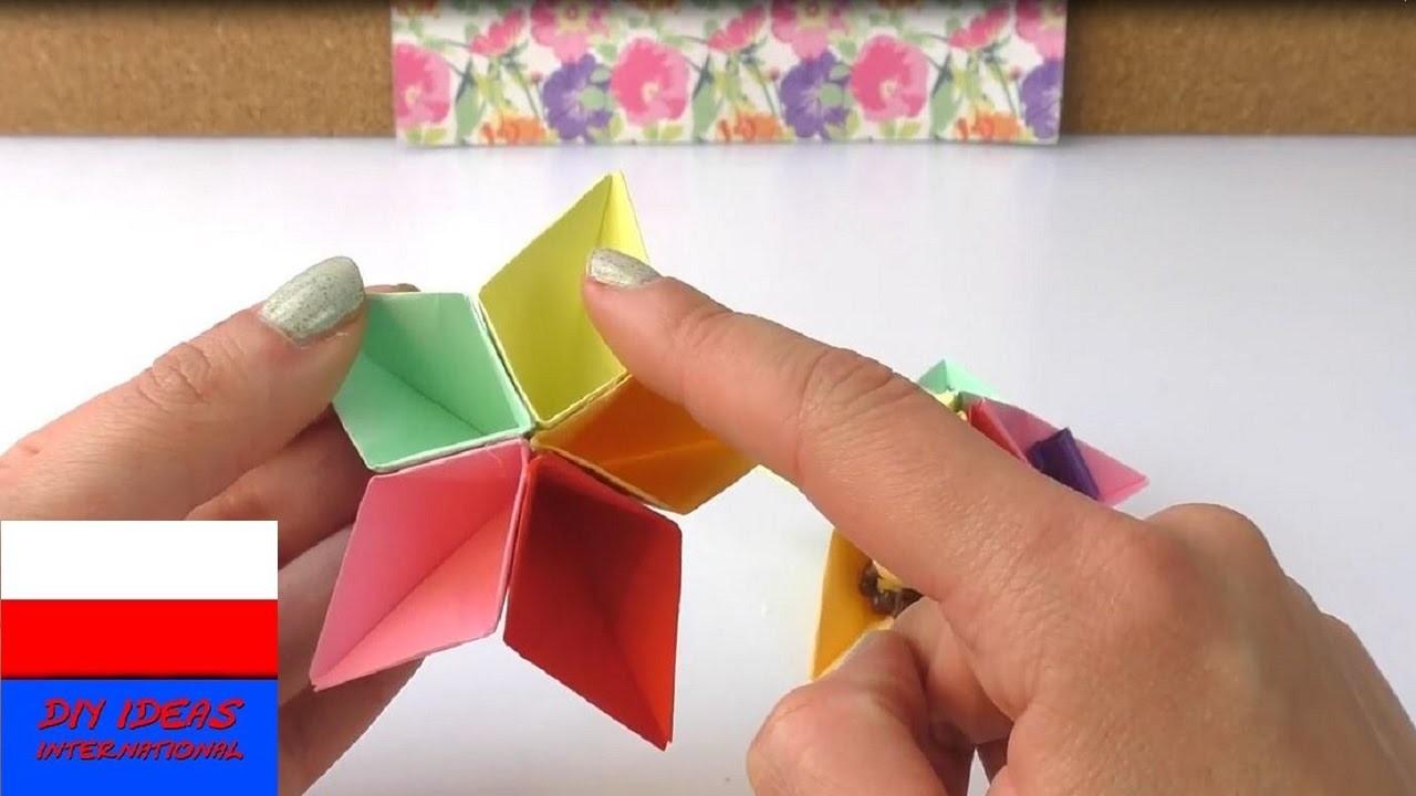 Kolorowe przegródki origami na biurko | papierowa dekoracja