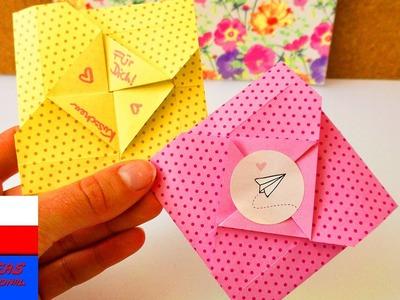 Koperta Origami | na krótkie wiadomości, liściki | proste origami