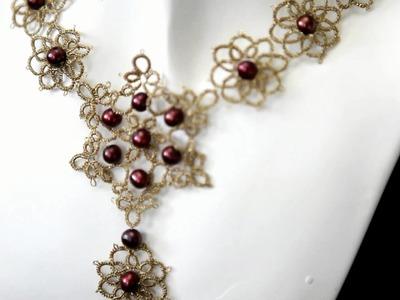 Naszyjnik frywolitkowy - złoty z bordowymi perłami