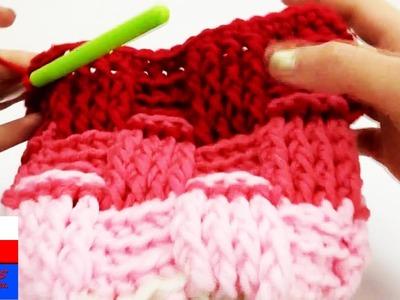 Jak wydziergać czapkę w cztrech kolorach - słupki reliefowe