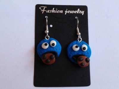 Cookie Monster earrings handmade polymer clay - kolczyki z modeliny - Modelina