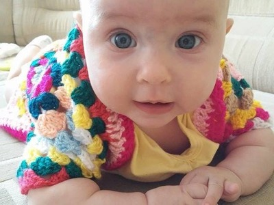 No 58# sweterek na szydełku z kwadratów babuni - cardigan for baby with granny square crochet