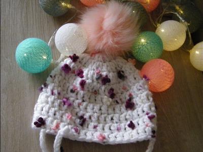 No 68# Czapka na szydełku 6-9 miesięcy dla dziecka - hat for baby on crochet 6-9 months