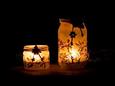 Decoupage   lampion z ptaszkami TUTORIAL DIY