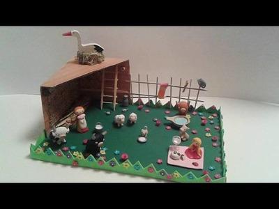 Miniaturowa, modelinowa: farma. miniature farm