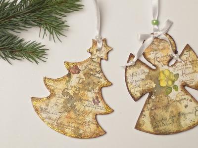 Decoupage krok po kroku - ozdoby ze sklejki na Boże Narodzenie