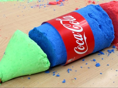 DIY - How to make colorful Coca-Cola bottle? - Kinetic Sand & Coca Cola