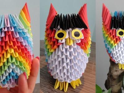 Origami 3D - Kolorowa sowa. Tęczowa sowa. Rainbow Owl. Origami 3D