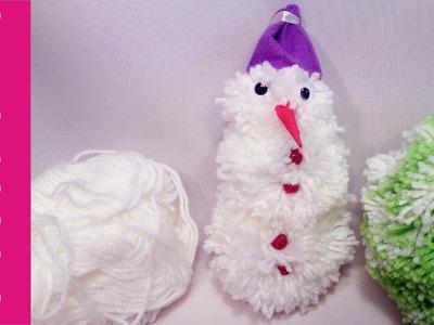 Bałwanek z pomponów z włóczki (snowman yarn, pompom)