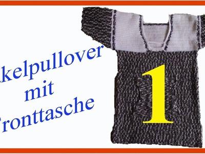 Häkelpullover mit kurzen Ärmel und Fronttasche Teil 1 deutsch