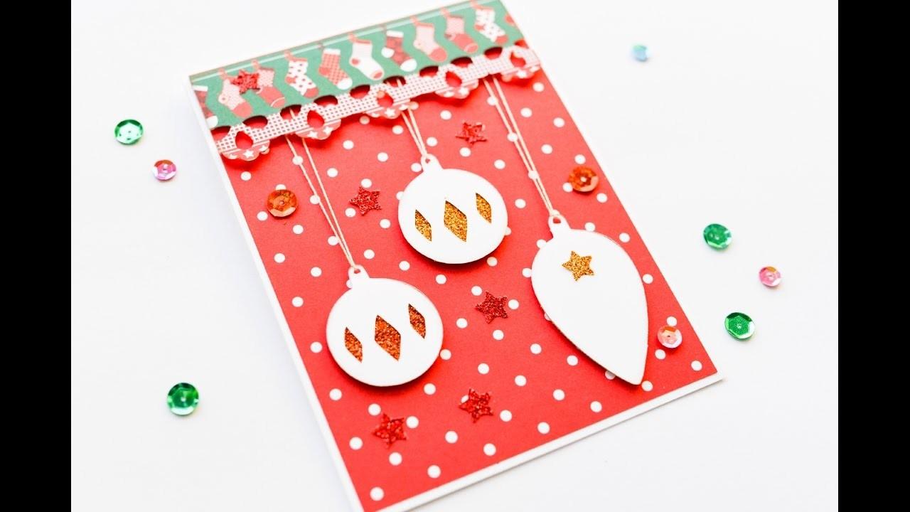 How to Make - Christmas Card Baubles - Step by Step DIY | Kartka Świąteczna Bombki