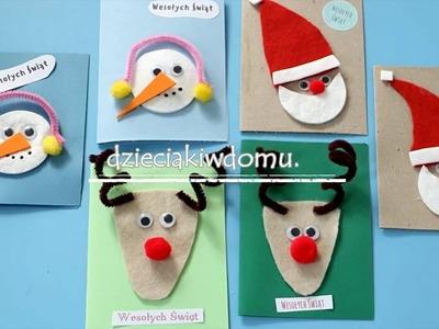 Kartki świąteczne ręcznie robione. DIY Christmas Cards for Kids