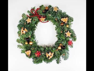 Stroik świąteczny z żywej jodły DIY. Jak zrobić stroik świąteczny? Wianek świąteczny.