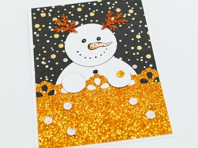 How to Make - Christmas Card Snowman - Step by Step DIY | Kartka Świąteczna Bałwan