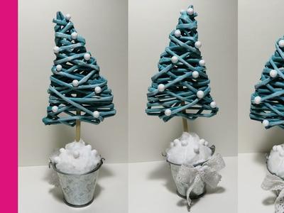 Mała choinka z papierowej wikliny w doniczce (Christmas tree, wicker paper,  DIY)