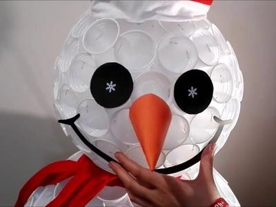 DIY- bałwan z kubeczków plastikowych (How to make a snowman)
