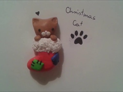 Polymer clay tutorial: Christmas cat =^.^=