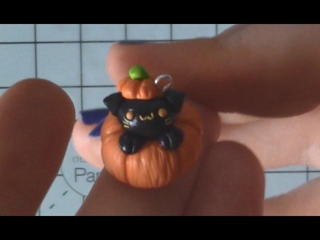 Polymer Clay Cat In Pumpkin Halloween Tutorial