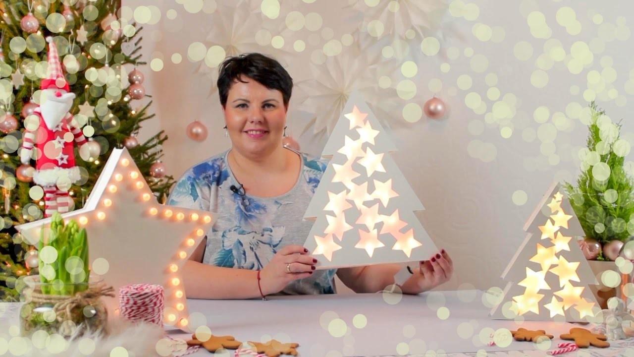 DIY: Świecące dekoracje na święta #SwiecSie. Gwiazda neon i witrażowe choinki.