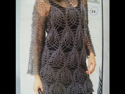 No 101# Sukienka, tunika na szydełku -  tunic, dress on crochet PART 2.2