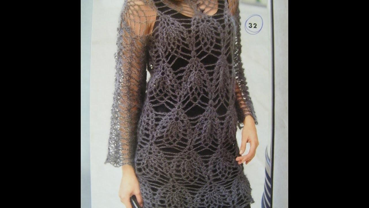 No 101# Sukienka, tunika na szydełku -  tunic, dress on crochet PART 2.2
