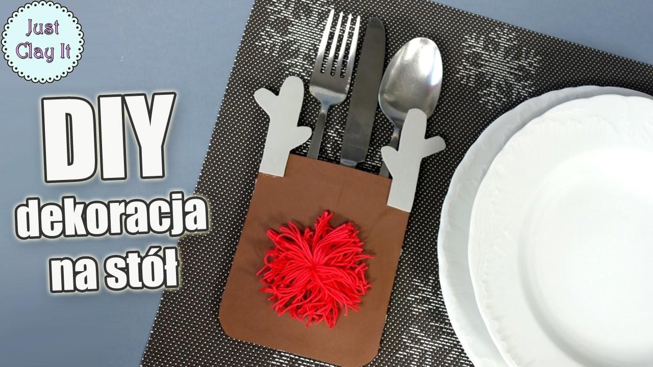 ♡ DIY ♡ Jak zrobić świąteczną dekorację na stół! Etui na sztućce Rudolf