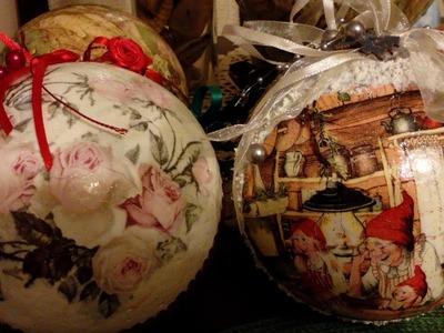 Świąteczny decoupage-bombki