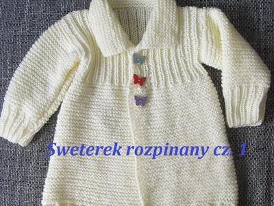 Sweterek rozpinany cz.1*0059*Robótki na drutach *Dzierganie na drutach